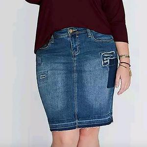 Lane Bryant 14 Denim Jean Stretch Skirt Distressed